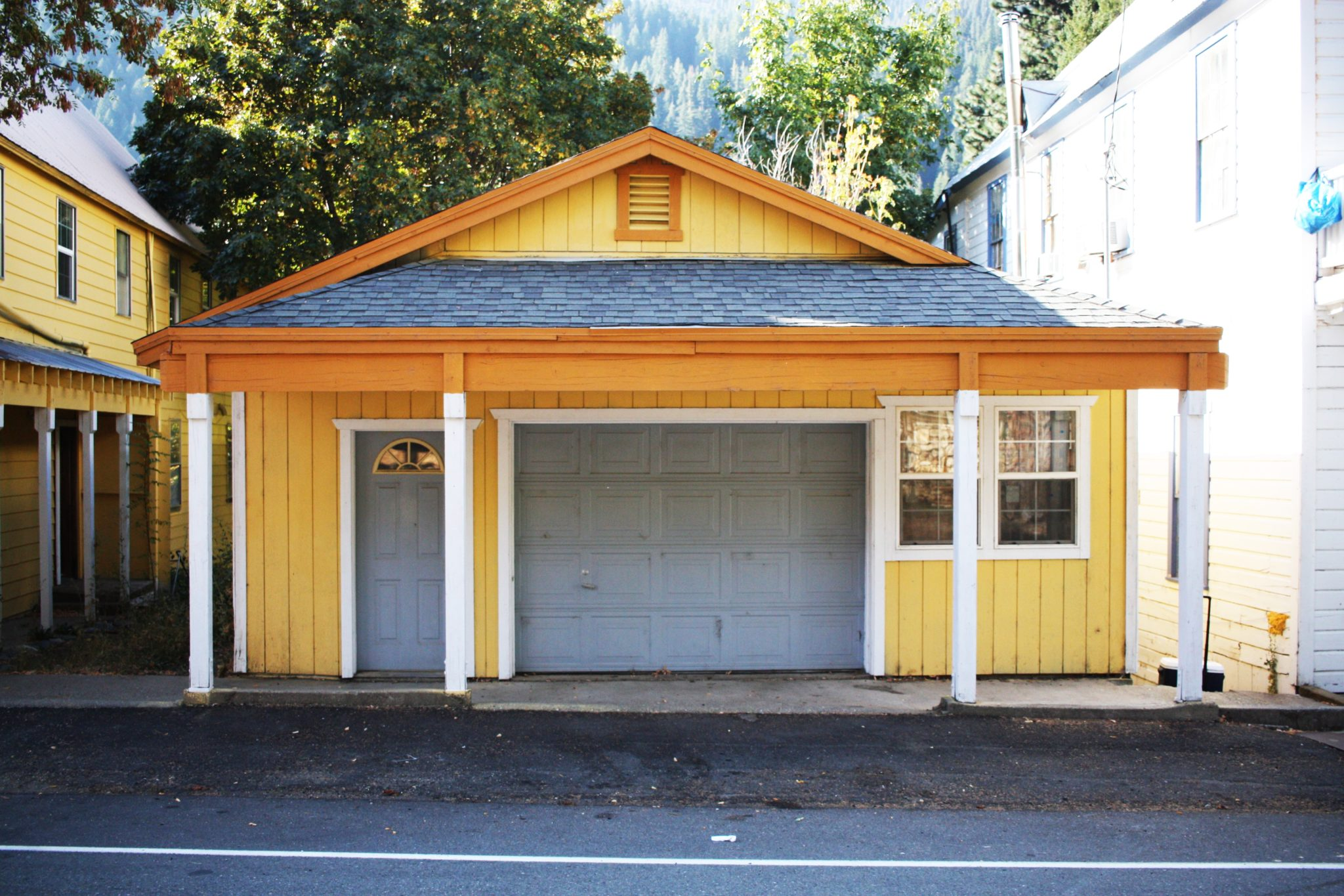 yellow and blue cute home garage conversion custom ideas and architecture